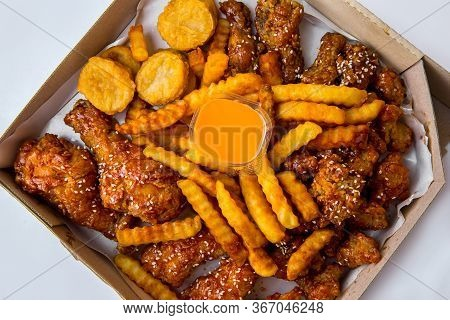Fried Chicken Crispy Food From Chicken And French Fries Or Chips (potato) Is A Side Dish Or Snack In