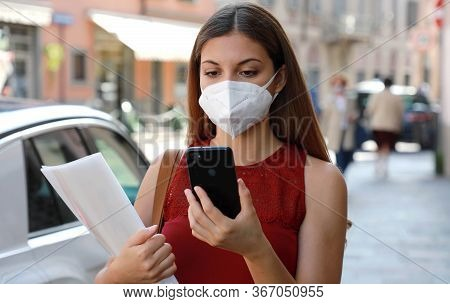 Covid-19 Global Economic Crisis Unemployed Woman With Mask Looking For Work With Job Recruiting App