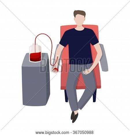 Young Man Gives Blood Vector Illustration. Medical Abstract Simple Image.