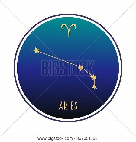 Aries. Aries Constellation. Vector Color Sketch. Constellation And Aries Sign.