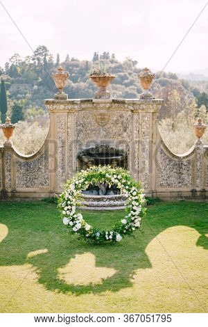 Florence, Italy - 02 October 2019: Wedding At An Old Winery Villa In Tuscany, Italy. Round Wedding A
