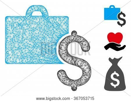 Mesh Accounting Web Icon Vector Illustration. Model Is Based On Accounting Flat Icon. Mesh Forms Abs