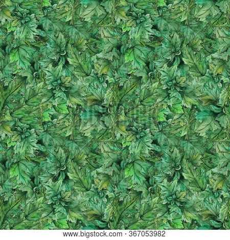 Watercolor Green Leaf Wood Forest Seamless Pattern Texture Background