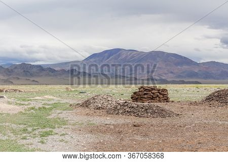 A Bunch Of Neatly Complex Dried Manure. Dried Manure Is Used Instead Of Firewood For Heating A Home.