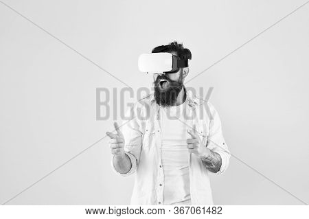 Gun Gesture. Shooting Gallery. Man Virtual Reality Headset. First Person Shooter. Play Game. Gaming