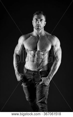 Satisfied With Result Of Trainings. Bodybuilding Sport. Power Of Muscles. Perfect Shape. Bodybuilder