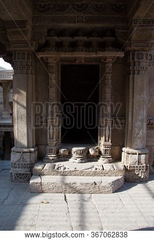Ahmedabad / India / April 11, 2017: Entrance Of Sculpted Stone In Traditional Indian Style
