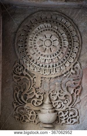 Ahmedabad / India / April 11, 2017: Stone Sculpted Detail In Traditional Indian Style