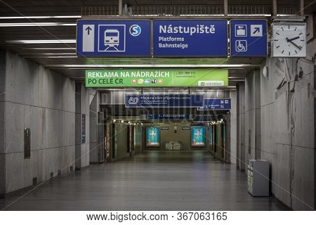 Prague, Czechia - October 31, 2019: Empty Underground Corridor Leading To The Platforms Of Nadrazi H