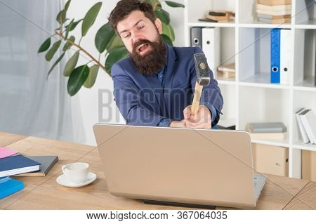 Lagging System. Hate Office Routine. Man Bearded Crush Computer. Software License Agreement. Destroy