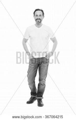 Casual Style To Suit His Personality. Bearded Man In Casual Style Isolated On White. Casual Trends.