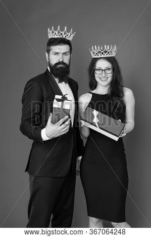 Gifted For Achievements. Success Goal. Beautiful People Celebrate Success. Couple In Love Wear Crown