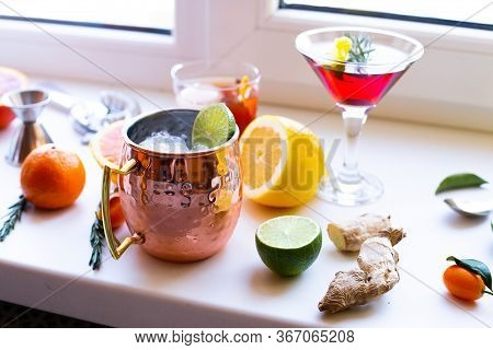 Home Made Cocktails Ingredients Blood Orange Lemon Lime Ginger Herbs And Martini Moscow Mule Cocktai