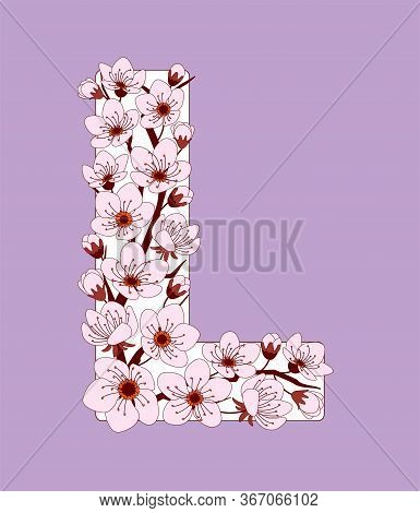 Capital Letter L Patterned With Hand Drawn Doodle Flowers Of Cherry Blossom. Colorful Vector Illustr