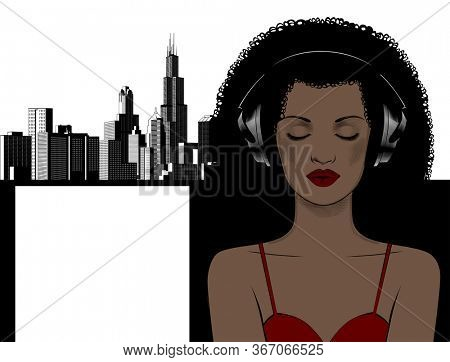 Young African woman on headphones.The girl listens to music . Music therapy.