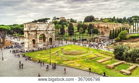 Rome Cityscape, Urban Landscape With Tourist Attractions Arch Of Constantine And Palatine Hill, Pano