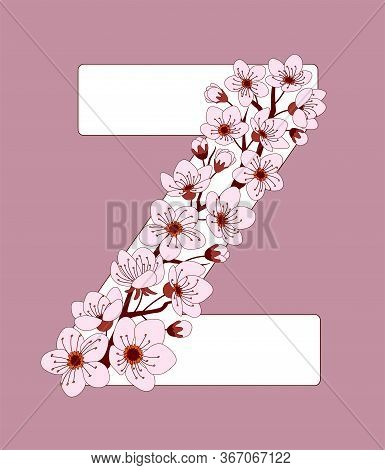Capital Letter Z Patterned With Hand Drawn Doodle Flowers Of Cherry Blossom. Colorful Vector Illustr