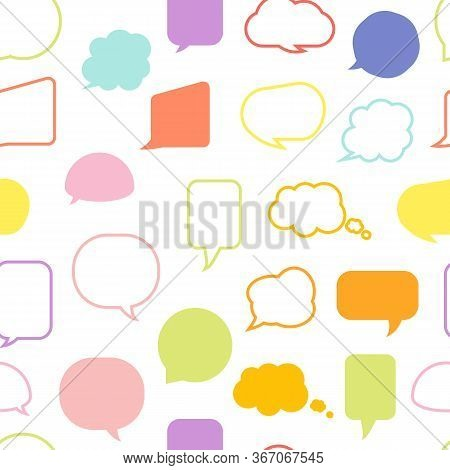 Colored Speech Soap Bubble Seamless Pattern. Limitless Background Line, Flat Cartoon Message Sign. F