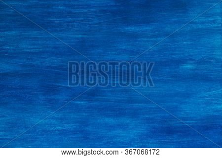 Hand Painted Gouache On Paper In A Bright Blue Background. Beautiful Abstract Light Blue Background