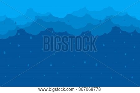 Background Night Blue Sky. Cartoon Flat Style With Border Of Rain Clouds. Abstract Cover Thunder. Cl