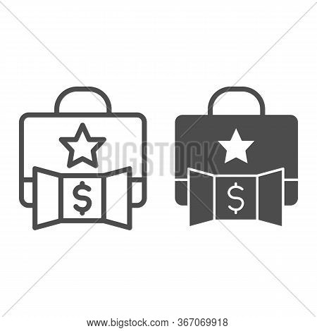 Promotion Portfolio With Dollar Line And Solid Icon. Elite Briefcase Makes Profit With Star Symbol,