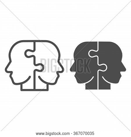 Two Puzzle Pieces Form Human Head Line And Solid Icon. Puzzle Male Heads Symbol, Outline Style Picto