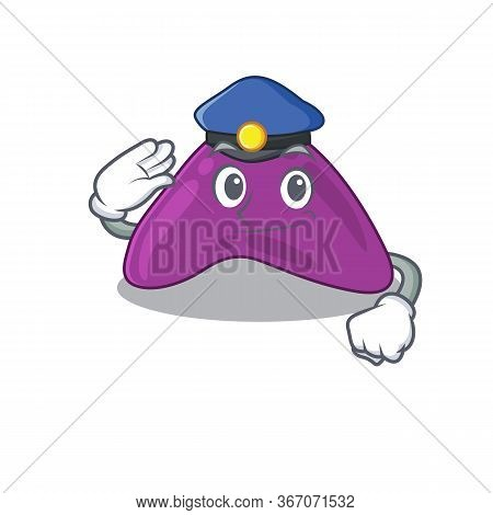 Police Officer Cartoon Drawing Of Adrenal Wearing A Blue Hat
