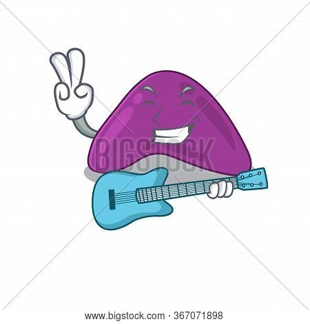 Brilliant Musician Of Adrenal Cartoon Design Playing Music With A Guitar