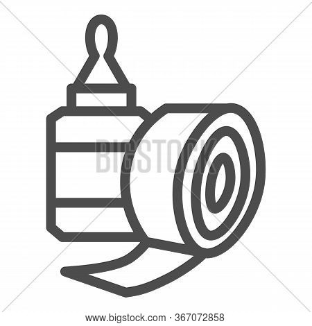 Sticky Tape And Glue Bottle Line Icon, Stationery Concept, Gluing Tools Sign On White Background, Sc