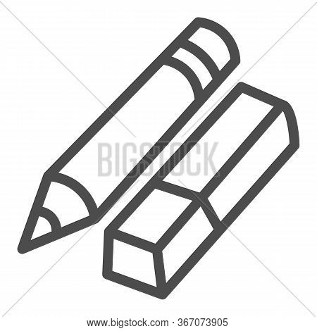 Eraser And Pencil Line Icon, Stationery Concept, School Drawing Tools Sign On White Background, Penc