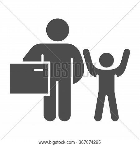 Father And Child With Gift Solid Icon, Children Holiday Concept, Adult Man With Present For Child Si