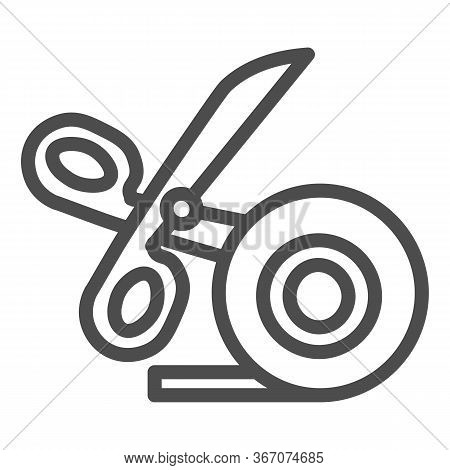 Scissors And Scotch Tape Line Icon, Stationery Concept, Cutting Adhesive Tape Sign On White Backgrou