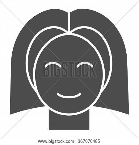 Female Teenager Head Solid Icon, Childhood Concept, Young Girl With Straight Hair Sign On White Back