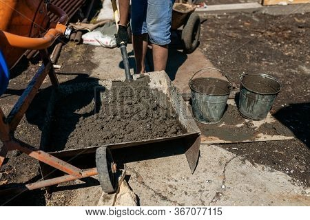 Work With Cement Mortar, Pouring Cement Mortar Wall, Foundation And Floor.