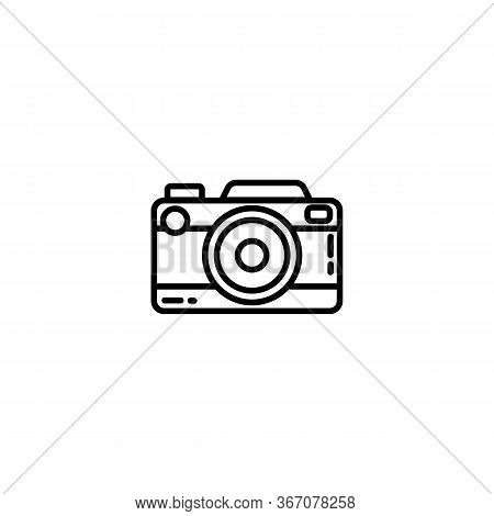 Vintage Camera Or Retro Camera Flat Line Icon. Photo Camera Element Vector Stock Isolated Image On W