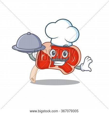 Mascot Design Of Prime Rib Chef Serving Food On Tray