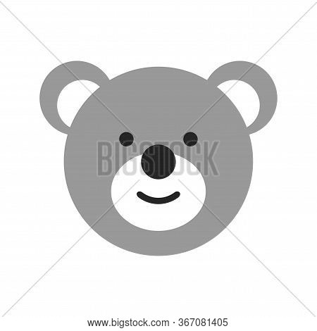 Toy Face Of A Bear. Flat Objects Isolated On A White Background.