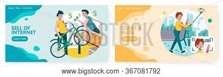 Man Sell His Used Bike On Online Classified Website. Travel Video Blog Concept Illustration. Vector