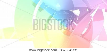 Abstract Bright Colorful Cgi Background With Bent Spiral Installation, 3d Rendering Illustration