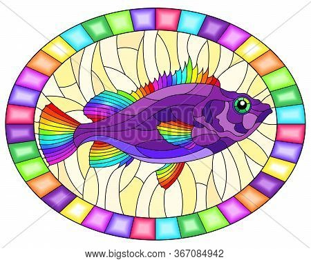 Illustration In Stained Glass Style With Abstract Bright Sea Bass On A Yellow  Background, Oval Imag