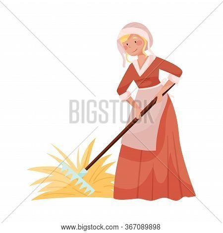 Young Medieval Female Peasant Carrying Hay With Rake Vector Illustration