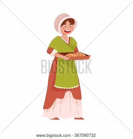 Young Medieval Female Peasant Carrying Bread Vector Illustration