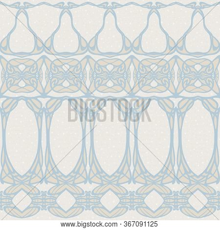 Seamless Pattern, Border. Wood Carving Imitation In Art Nouveau Style, Vintage, Old, Retro Style. Co