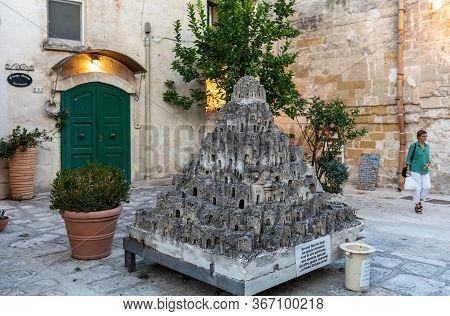 Matera, Italy - September 15, 2019: Closeup Model Of The Sassi Di Matera - Meaning Stones Of Matera