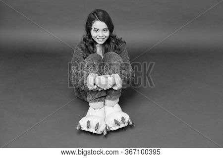 Feeling Cozy In Her Pajamas. Little Child Wear Funny Pajamas. Small Girl Sit On Floor. Pajamas Party
