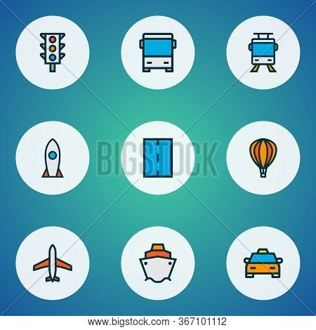 Shipment Icons Colored Line Set With Road, Traffic Light, Bus And Other Cruise Elements. Isolated Ve