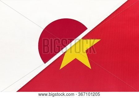 Japan And Socialist Republic Of Vietnam, Symbol Of Two National Flags From Textile. Relationship, Pa