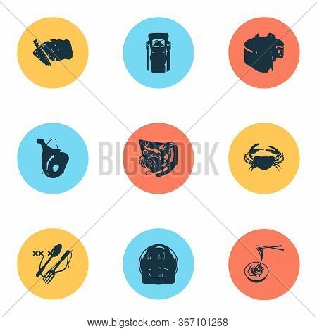 Meal Icons Set With Ketchup, Pizza Slice, Bread And Other Cheese Elements. Isolated Vector Illustrat