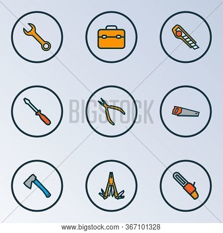 Handtools Icons Colored Line Set With Screwdriver, Nippers, Utility Knife And Other Multifunctional