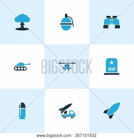 Warfare Icons Colored Set With Bomb, Zoom, Boom And Other Explosion Elements. Isolated Vector Illust